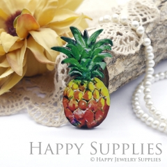 2Pcs Mini Handmade Wooden Laser Cut Pineapple Charms / Pendants