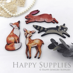 4Pcs Mini Handmade Wooden Laser Cut Fox Rabbit Charms / Pendants