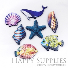 4Pcs Mini Handmade Wooden Laser Cut Marine Organism Charms / Pendants