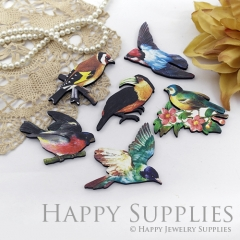 4Pcs Mini Handmade Wooden Laser Cut Bird Charms / Pendants
