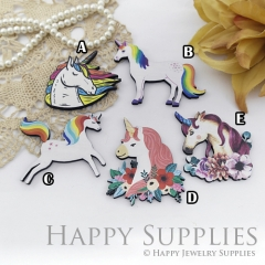 4Pcs Mini Handmade Wooden Laser Cut Unicorn Charms / Pendants