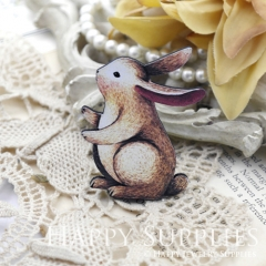 2Pcs Mini Handmade Wooden Laser Cut Animal Rabbit Charms / Pendants