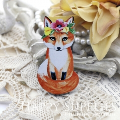 2Pcs Mini Handmade Wooden Laser Cut Animal Fox Charms / Pendants