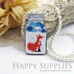 2Pcs Mini Handmade Wooden Laser Cut Fox Bottle Charms / Pendants