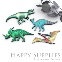 4Pcs Mini Handmade Wooden Laser Cut Dinosaur Charms / Pendants