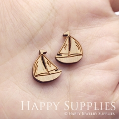 4pcs DIY Laser Cut Wooden Boat Charms SWC314