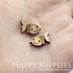 4pcs DIY Laser Cut Wooden Fish Charms SWC273
