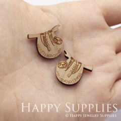 4pcs DIY Laser Cut Wooden Sloth Charms SWC263