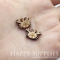 4pcs DIY Laser Cut Wooden Crab Charms SWC274