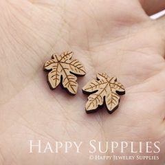 4pcs DIY Laser Cut Wooden Leaf Charms SWC284