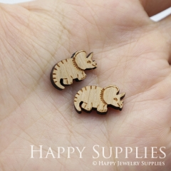 4pcs DIY Laser Cut Wooden Rhinoceros Charms SWC270