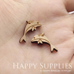 4pcs DIY Laser Cut Wooden Fish Charms SWC317