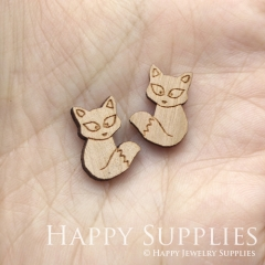 4pcs DIY Laser Cut Wooden Fox Charms SWC262