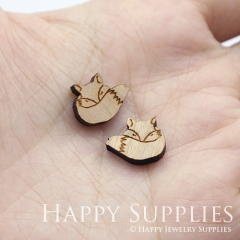 4pcs DIY Laser Cut Wooden Fox Charms SWC269