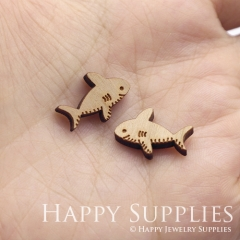 4pcs DIY Laser Cut Wooden Fish Charms SWC280
