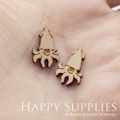4pcs DIY Laser Cut Wooden Octopus Charms SWC296