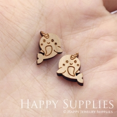 4pcs DIY Laser Cut Wooden Dophin Charms SWC308