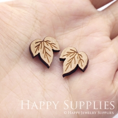 4pcs DIY Laser Cut Wooden Leaf Charms SWC307