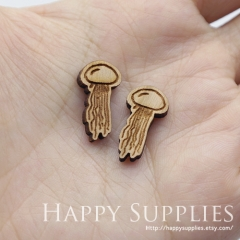 4pcs DIY Laser Cut Wooden Jellyfish Charms SWC271