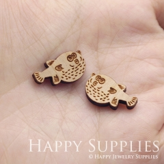 4pcs DIY Laser Cut Wooden Puffer Fish Charms SWC306