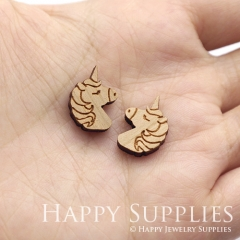 4pcs DIY Laser Cut Wooden Unicorn Charms SWC282