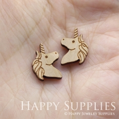 4pcs DIY Laser Cut Wooden Unicorn Charms SWC290
