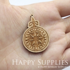 2pcs DIY Laser Cut Wooden Compass Charms SWC278