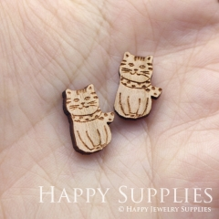 4pcs DIY Laser Cut Wooden Cat Charms SWC287