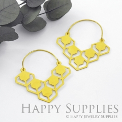 2Pairs (4Pcs) Geomertic Raw Brass Drop Earrings, Elegant Hoop Earrings, Perfect for any Occasion (RD428-B)