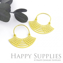 2Pairs (4Pcs) Geomertic Raw Brass Drop Earrings, Elegant Hoop Earrings, Perfect for any Occasion (RD427-S)