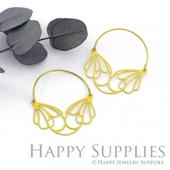 2Pairs (4Pcs) Geomertic Raw Brass Drop Earrings, Elegant Hoop Earrings, Perfect for any Occasion (RD431-B)