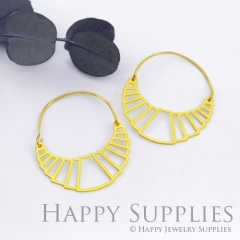 2Pairs (4Pcs) Geomertic Raw Brass Drop Earrings, Elegant Hoop Earrings, Perfect for any Occasion (RD434-B)
