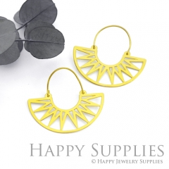 2Pairs (4Pcs) Geomertic Raw Brass Drop Earrings, Elegant Hoop Earrings, Perfect for any Occasion (RD439-S)