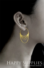 2Pairs (4Pcs) Geomertic Raw Brass Drop Earrings, Elegant Hoop Earrings, Perfect for any Occasion (RD440-B)