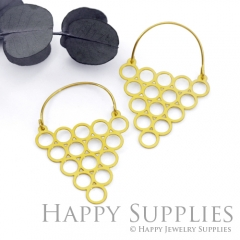 2Pairs (4Pcs) Geomertic Raw Brass Drop Earrings, Elegant Hoop Earrings, Perfect for any Occasion (RD437-B)