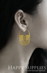2Pairs (4Pcs) Geomertic Raw Brass Drop Earrings, Elegant Hoop Earrings, Perfect for any Occasion (RD409-B)