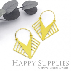 2Pairs (4Pcs) Geomertic Raw Brass Drop Earrings, Elegant Hoop Earrings, Perfect for any Occasion (RD433-S)
