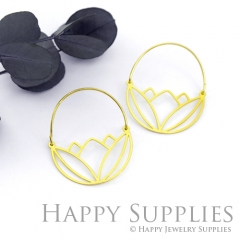 2Pairs (4Pcs) Geomertic Raw Brass Drop Earrings, Elegant Hoop Earrings, Perfect for any Occasion (RD436-B)