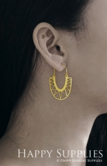 2Pairs (4Pcs) Geomertic Raw Brass Drop Earrings, Elegant Hoop Earrings, Perfect for any Occasion (RD435-S)