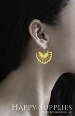 2Pairs (4Pcs) Geomertic Raw Brass Drop Earrings, Elegant Hoop Earrings, Perfect for any Occasion (RD429-S)