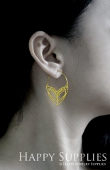 2Pairs (4Pcs) Geomertic Raw Brass Drop Earrings, Elegant Hoop Earrings, Perfect for any Occasion (RD432-B)