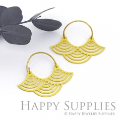 2Pairs (4Pcs) Geomertic Raw Brass Drop Earrings, Elegant Hoop Earrings, Perfect for any Occasion (RD407-S)
