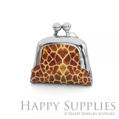 1pcs Leopard Print Handmade Tiny Silver Photo Leather Purse Pendant Necklace QW115-S
