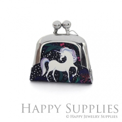 1pcs Unicorn Handmade Tiny Silver Photo Leather Purse Pendant Necklace QW113-S
