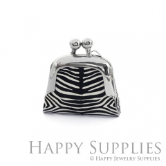 1pcs Zebra Pattern Handmade Tiny Silver Photo Leather Purse Pendant Necklace QW123-S