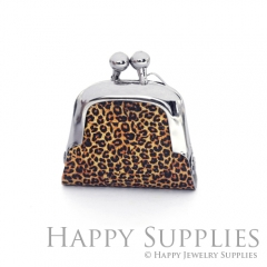1pcs Leopard Print Handmade Tiny Silver Photo Leather Purse Pendant Necklace QW121-S