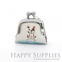 1pcs Dog Handmade Tiny Silver Photo Leather Purse Pendant Necklace QW140-S