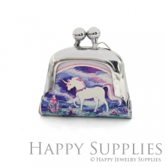 1pcs Unicorn Handmade Tiny Silver Photo Leather Purse Pendant Necklace QW148-S