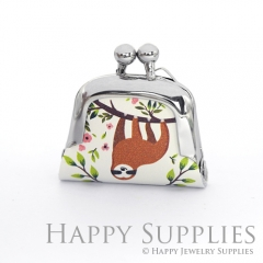 1pcs Sloth Handmade Tiny Silver Photo Leather Purse Pendant Necklace QW116-S