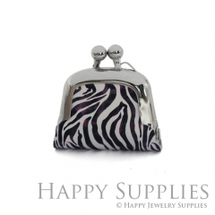 1pcs Zebra Pattern Handmade Tiny Silver Photo Leather Purse Pendant Necklace QW139-S
